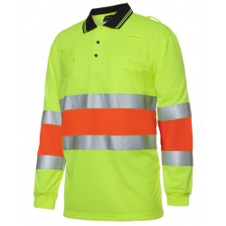 Hi Vis Bio Motion (D+N) L/S Polo with 3M Tape - 6QTDP