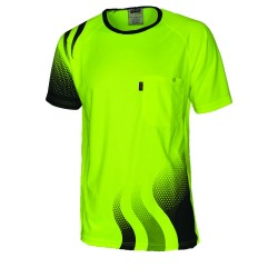 175gsm HiVis Cool-Breathe Hivis Sublimated Wave T-Shirt - 3562