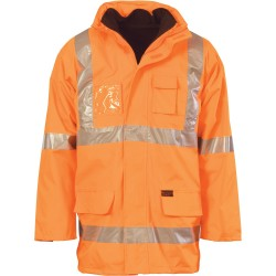 200D Polyester - PVC HiVis D - N 6 in 1 Contras Jacket with Cross Back CSR R - 3997