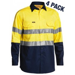 3M TAPED TWO TONE HI VIS COOL LIGHTWEIGHT L/S DRILL SHIRT (4 Pack) - BS68964P