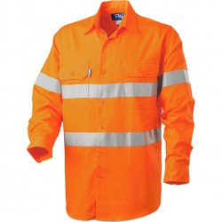 Shirt L-S Cotton Drill with TRu Reflective Tape and HORIZONTAL Cooling Vents - DS1166T3