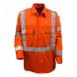 Shirt L-S Cotton Drill with NSW Rail Compliant, X Pattern TRu Perf Reflective Tape HORIZONTAL Cooling Vents - DS1166T5