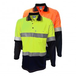 Shirt 175gsm Micromesh Polyester Hi Vis Polo, Long Sleeve 2 Tone with Reflective Tape - TS2850T1