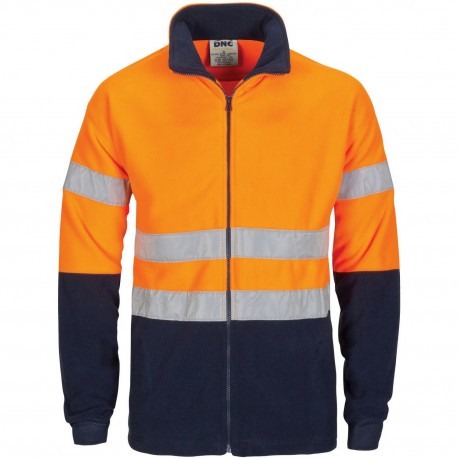 HiVis two tone full zip polar fleece with generic R/Tape - 3830