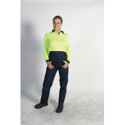 175gsm Polyester Ladies HiVis Two Tone Polo, L/S - 3898