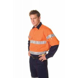 155gsm HiVis Cool-Breeze 2 Tone Close Front Cotton Shirt  with 3
