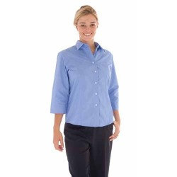 110gsm Polyester Cotton Ladies Chambray Shirt, three quarter Sleeve - 4213