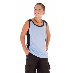 175gsm Polyester Kids Cool-Breathe Contrast Singlet - 5142