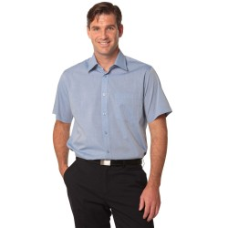 Mens Fine Chambray Short Sleeve Shirt - M7011