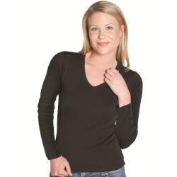 JB's LADIES L/S V-NECK RIB TEE - 1LLR