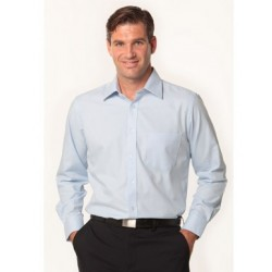 Mens Mini Herringbone Long Sleeve Shirt - M7112