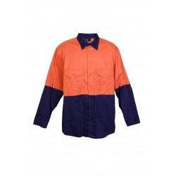 100% Combed Cotton Drill Long Sleeve Shirts - S007ML
