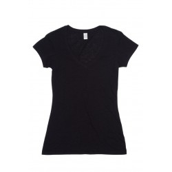 Ladies Raw Cotton Wave V Neck Tee - T918LD