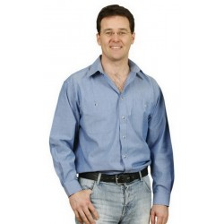 Mens Wrinkle Free Long Sleeve Chambray Shirts - BS03L