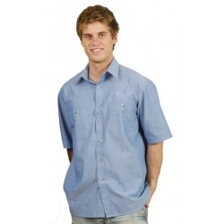 Mens Wrinkle Free Short Sleeve Chambray Shirts - BS03S