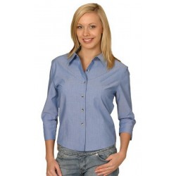 Ladies Wrinkle Free 3/4 Sleeve Chambray Shirts - BS04