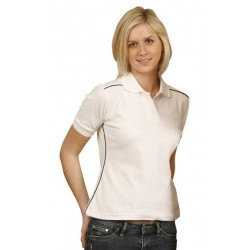 Ladies Pure Cotton Contrast Piping Short Sleeve Polo - PS26
