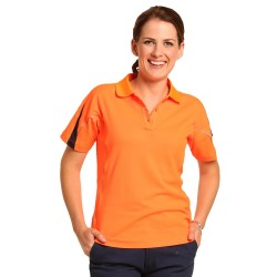 Ladies True Dry Hi Vis Legend Short Sleeve Polo with reflective piping - SW26A