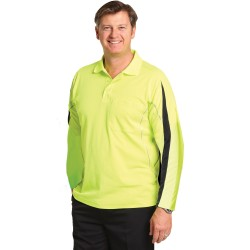 Mens' TrueDry Hi-Vis Legend Long Sleeve Polo with Reflective Piping - SW33A