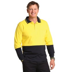 Cotton Jersey two tone Long Sleeve Safety Polo - SW36