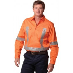 Mens High Visibility Regular Weight Long Sleeve Drill Shirts - SW56