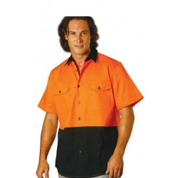 Hi Vis Two Tone Cool Breeze Short Sleeve Cotton Work Shirt - SW57