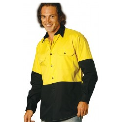 Mens High Vis Cool-Breeze long sleeve Cotton Twill Safety Shirts - SW58