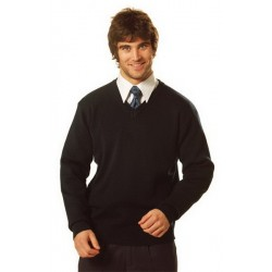 V-Neck Wool/Acrylic Knit Jumper - WJ01