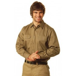 Cotton Drill Long Sleeve Work Shirt - WT04