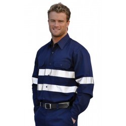 Cotton Drill Long Sleeve Work Shirt With 3M Tapes - WT04HV