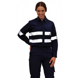 Ladies Cotton Drill Work Shirt with 3M Tapes - WT08HV