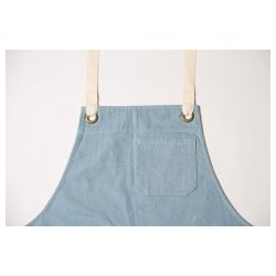 Original Denim Bib Apron with contrast straps - A14