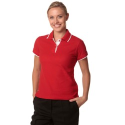 Ladies Poly-Cotton Contrast Pique Short Sleeve Polo - PS48A