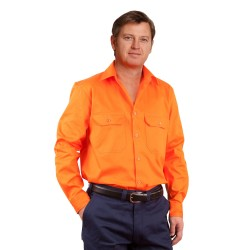 Men's High Visibility Regular Weight Long Sleeve Drill Shirt - SW51