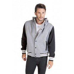 MENS VARSITY JACKET WITH HOOD - F907HB