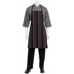 Black/White/Red Striped Bib Apron - A550