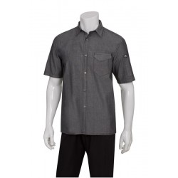 Black Denim Detroit Short Sleeve Shirt - SKS002