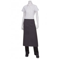 Black Fine Striped 3/4 Apron With Black Ties - AW014