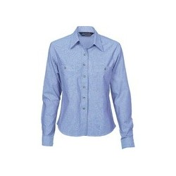 155gsm Ladies Cotton Chambray Shirt, L/S - 4106