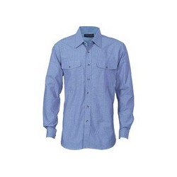 155gsm Twin Flap Pocket Cotton Chambray Shirt, L/S - 4104