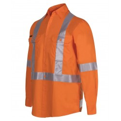 Hi Vis (D+N) L/S 150G Cross Back Tape Shirt - 6DCBL