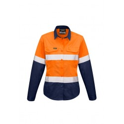 Womens Rugged Cooling Taped Hi Vis Spliced Shirt Orange/Navy - ZW720