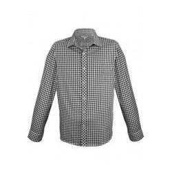 Mens Brighton Long Sleeve Shirt Black/White - 1909L