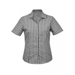 Ladies Devonport Short Sleeve Shirt Charcoal/Silver - 2908S
