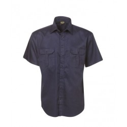 Cotton Drill Work Shirt, Short Sleeve - C04