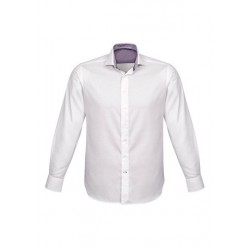 Herne Bay Mens Long Sleeve Shirt White/Purple Reign - 41810