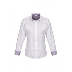 Herne Bay Ladies Long Sleeve Shirt White/Purple Reign - 41820