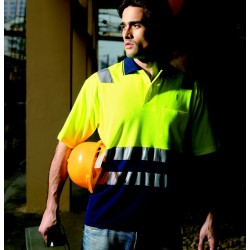 HI-VIS POLYFACE/COTTON BACK POLO WITH TAPE -S/S - SP0539
