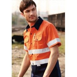 HI-VIS S/S COTTON DRILL SHIRT WITH REFLECTIVE TAPE - SS1231