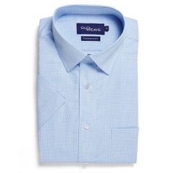 Textured Yarn Dyed Check S/S Blue - 1295S